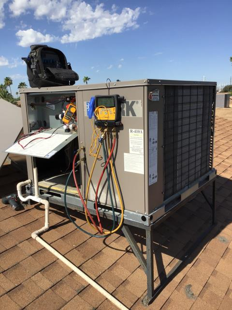 Phoenix, AZ - In Phoenix, AZ:  PREVENTATIVE MAINTENANCE-  Completed service in accordance with maintenance checklist. During inspection found elbow, ducted on roof, unsealed; recommend resealing elbow. Indoor coil has build up restricting air flow. Coil needs to be cleaned with acid. Finally, starting relay has failed. Removed from circuit. System has not been serviced for a few years; would recommend doing repairs to get it caught back up. Service complete.