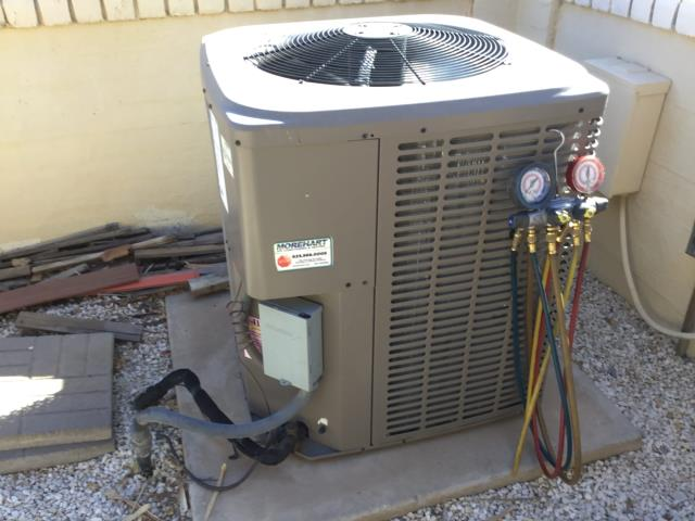 Sun City West, AZ - In Sun City West, AZ:  DIAGNOSTIC-  On arrival, found temps at 80 degrees. Checked system charge and found system down on R410A Freon. Found Schrader valve leaking; installed new valve and added a pound of R410A Freon. Service complete.