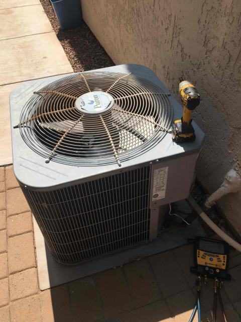 In Anthem AZ:  DIAGNOSTIC-  Upon arrival, cycled unit into cooling mode. Checked Freon levels with super heat and subcool. Checked start and run capacitors. Checked bolts and amp draws. All components and refrigerant levels are within manufacturing specifications. Homeowner stated that over weekend, a company was over and unit would run longer than usual. Explained to homeowner that longer run time is normal and especially with ambient temp over 110 degrees. Service complete.