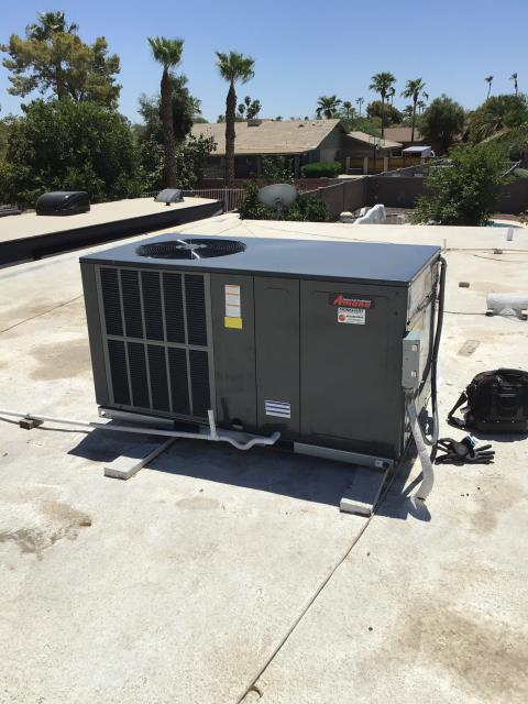 Glendale, AZ - In Glendale, near West Villa Rita Drive and North 71st Drive performing quality inspection on a newly installed Amana 3 ton 14 seer horizontal package heat pump. Installation looks very good and system is in good working order.