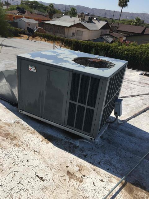 Phoenix, AZ - In Phoenix, near West Southgate Avenue and 3rd Avenue performing routine seasonal preventative maintenance on a Goettl package heat pump. System is in working order and with continued routine maintenance is working properly and within manufacturer specifications.
