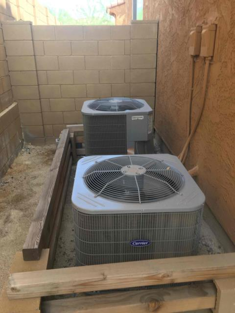 Phoenix, AZ - In Phoenix, near North Valley Parkway to perform full system inspection on 2, 3 and 3.5 ton Carrier gas split systems. Systems contain R-410A refrigerant and are approximately 4 years old. Everything is operational with systems, and duct work.