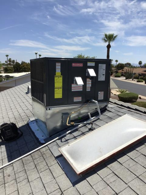 Sun City, AZ - In Sun City, near West Crosby Drive and North 109th Avenue performing a quality inspection on a newly installed 3 ton 14 seer Goodman gas package system. Tested system and installation. Inspected roofing repair. Unit is working great with no mechanical issues and customer is satisfied.