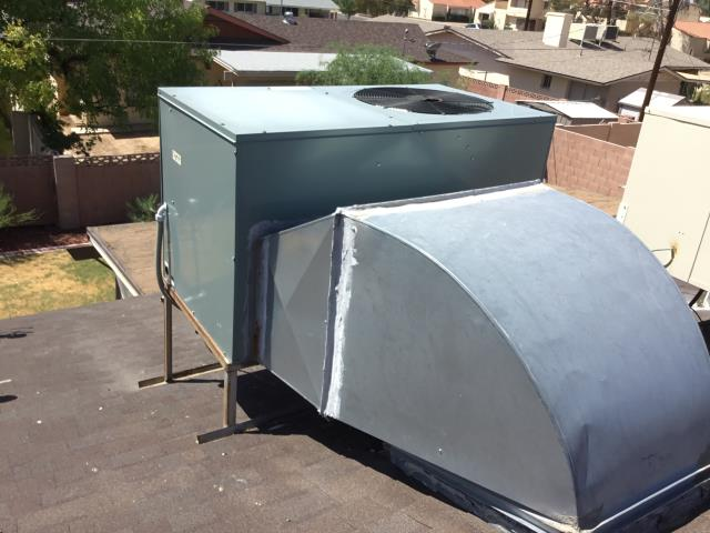 Glendale, AZ - In Glendale, near West Marlette Avenue and North 47th Avenue returning to install temp motor on a Rheem package heat pump until unit is replaced. The day of install, will remove existing motor and capacitor.