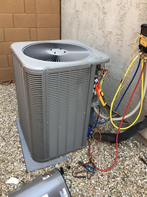 Buckeye, AZ - In Buckeye, near Sun City Festival performing seasonal routine maintenance on a Lennox condenser. Unit is not large enough to accommodate home size. Would recommend calling home builder to evaluate heat load calculation for home. Unit is working properly and within manufacturer specifications.