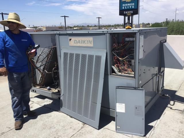 Glendale, AZ - In Glendale, near Grand Avenue and North 53rd Avenue returning to install new pads and belts on 5 coolers from previous quarterly maintenance service.