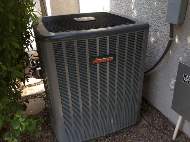 Litchfield Park, AZ - In Litchfield Park, near West Honeysuckle Street and North Dania Court performing a quality inspection on a newly installed 4 ton 20 seer Amana gas split system. Clean install with no issues. Customer is happy with finished project.