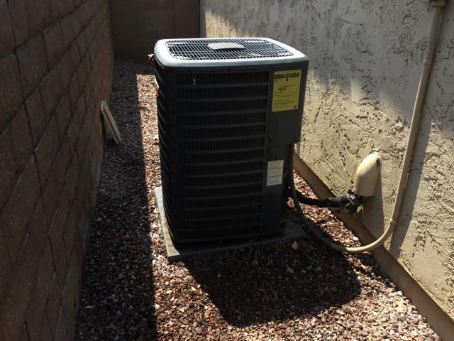 Peoria, AZ - In Peoria, near West Los Gatos Drive and West Speckled Gecko Drive performing routine seasonal maintenance on a Goodman condenser. All is in good working order and running properly. Longevity of unit is extended with routine maintenance.