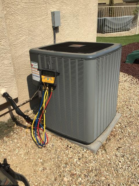 Peoria, AZ - In Peoria, near Camino a' Lago Park performing a quality inspection on a newly installed 3.5 ton Amana condenser. Install is clean and everything is within manufacturer specifications.