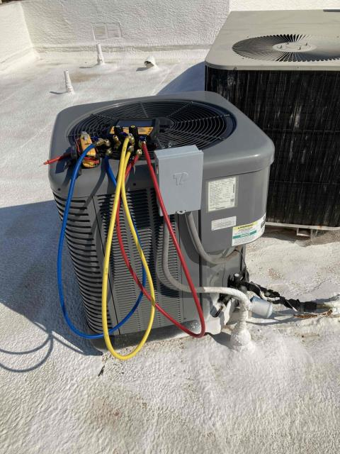 Peoria, AZ - In Peoria, near Greenway Palms performing routine seasonal maintenance on a Rheem condenser. Service completed in accordance with maintenance checklist. Upon departure, unit is working properly and within manufacturer specifications.
