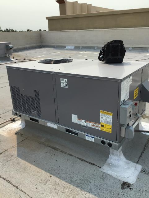In Mesa, near East Baseline Road and North Kiowa Avenue performing routine maintenance on 2 Carrier package heat pumps. Both systems were recently replaced and working properly upon departure.