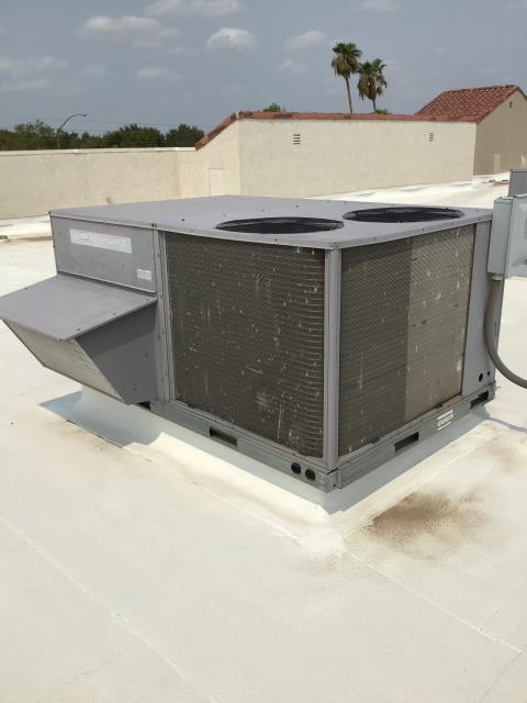 In Mesa, near East Main Street and North Greenfield Road performing routine seasonal maintenance on a Carrier package heat pump. Service was completed in accordance with maintenance checklist. System is running within manufacturer specifications.