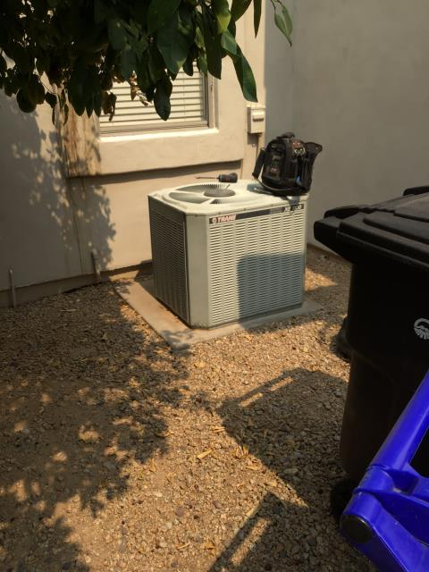 In Chandler, near West Hemlock Way and South Greythorne Way performing a diagnostic on a 1996 Trane condenser hooked up to a 2020 Goodman coil. I would recommend replacing entire system for matching pieces of equipment and updating duct work.
