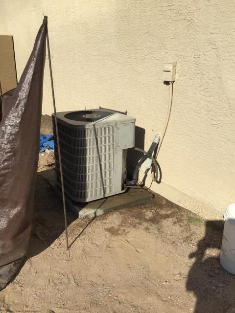 Glendale, AZ - In Glendale, near West Frier Drive and Hayward Avenue performing seasonal preventative maintenance on 1 unit. Completed service in accordance with maintenance checklist. System is older but in working order. Would recommend monitoring and budgeting for future replacement.
