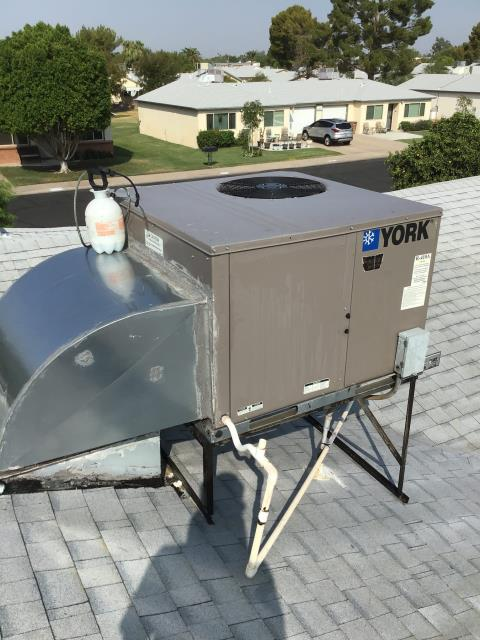 In Peoria, near West Brown Street and North 96th Avenue performing seasonal preventative maintenance on a York package heat pump. Completed service in accordance with maintenance checklist.