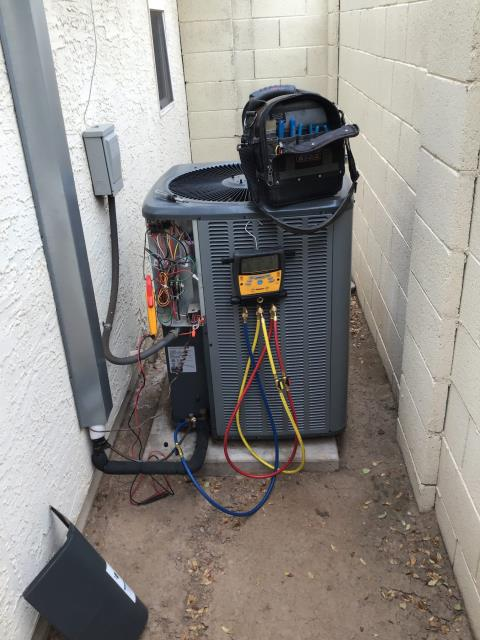 In Chandler, near West Boston Way South and South Juniper Way performing Fall preventative maintenance on an Amana split system. Completed service in accordance with maintenance checklist. Upon departure, unit is working properly and within manufacturer specifications.