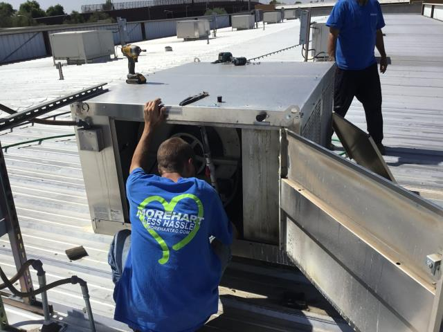 Glendale, AZ - In Glendale, near Grand Avenue and North 54th Avenue performing quarterly preventative maintenance on 2 commercial AC systems and 22 evap coolers. Services completed according to maintenance checklist.