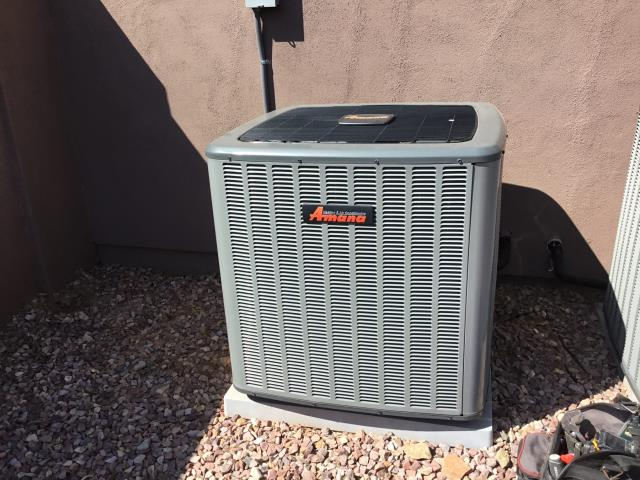 Cave Creek, AZ - In Cave Creek, near East El Sendero Road and North 36th Place performing Fall preventative maintenance on an Amana and Carrier split systems. Upon arrival, removed and cleaned flame sensors and reinstalled. Checked ignitors and burners. Cycled systems on into heating mode. Checked volt and amp draws. Cleaned and tightened electrical connections. Checked back pressure safety switch and safety shut down. Both systems are new and running properly at this time. Recommended hard start kits for compressor start up.