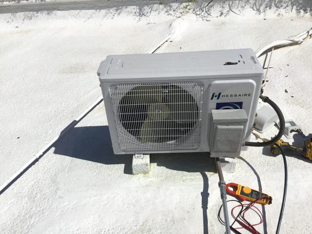 In Phoenix, near East Indian School Road and North 40th Place performing Fall preventative maintenance on a Hessaire mini split system. Customer stated system would not come on. Cycled remote to on and cool; system cycled on. Checked volt and amp draws. Checked Freon levels and pressures. Washed and dried return air filter. Mini split is working properly and within manufacturer specifications at this time.