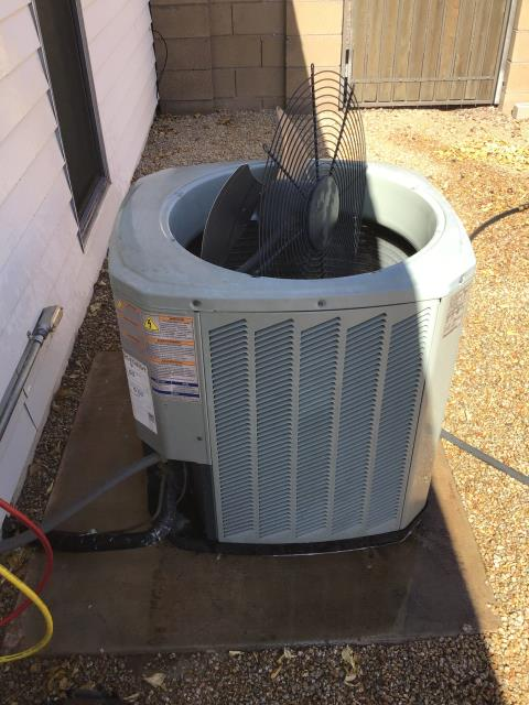 Sun City, AZ - In Sun City, near West Burns Drive and North Boswell Boulevard performing Fall preventative maintenance on 2 Trane split systems. Completed services in accordance with maintenance checklist. Systems working properly upon departure.