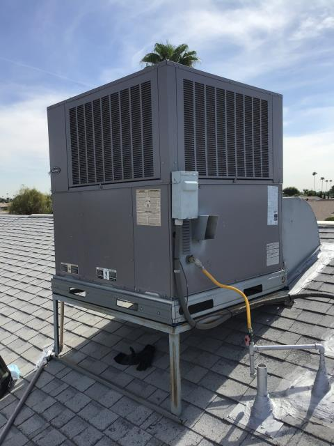 In Sun City, near West Roundelay Circle and North Del Webb Boulevard performing Fall preventative maintenance on a Carrier gas pack. Completed service in accordance with maintenance checklist. System is working properly upon departure.
