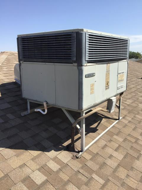 In Sun City, near Willowcreek Circle and North Palo Verde Drive performing a diagnostic on a Trane package heat pump. Completed inspection of system. Listed pricing to add return in home. System is in working condition but is 10 years old. Recommend monitoring parts for maintenance; replacement during the next few services.