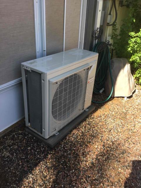 In Sun City, near West Sierra Dawn Drive and West Floriade Drive performing Fall preventative maintenance on a Daikin mini split system. Upon arrival, cycled unit into heating mode. Washed intake filters and took temperature readings. At condenser, took volts and amp draws. Cleaned and tightened electrical connections. Washed and rinsed coils. Upon departure, unit is working properly and within manufacturer specifications.