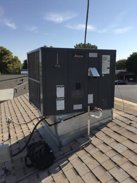 In Tempe, near East Colgate Drive and South College Avenue performing Fall preventative maintenance on an Amana gas pack. Completed service in accordance with maintenance checklist. Upon departure, system is running properly and within manufacturer specifications.