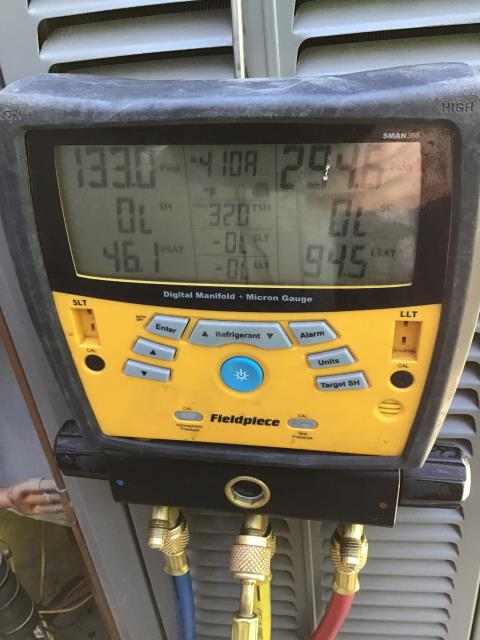 In Peoria, Az off of 91st and Lake Pleasant Parkway. Upon arrival found system on lockout for short cycling and high pressure discharge. Found fan motor locked in place. There is something wedge between blade and shroud for fan. Removed and reset system. Unit working properly charge in second stage at 131/298 psig. Recommend replacing 45uf capacitor and OEM condensing fan motor.
