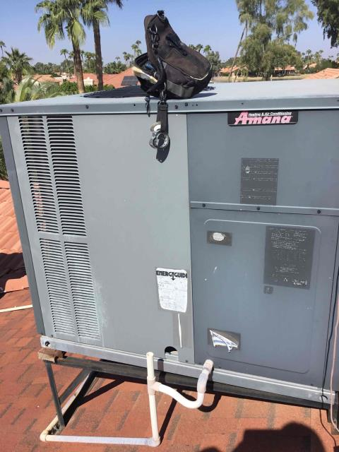 In Sun Lakes, AZ performing a heating maintenance service to an Amana unit. Replaced air filters and did  a safety inspection to the heating portion of the unit.