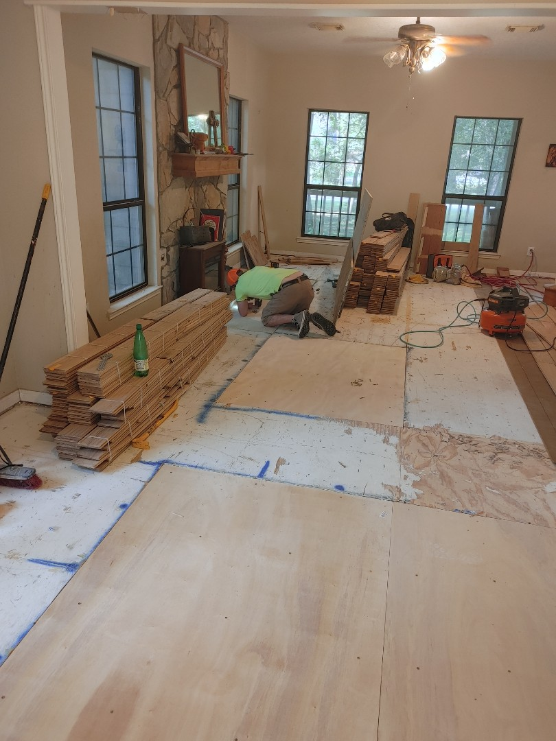 Tomball, TX - Water damaged subfloor replacement before the hardwood goes in.