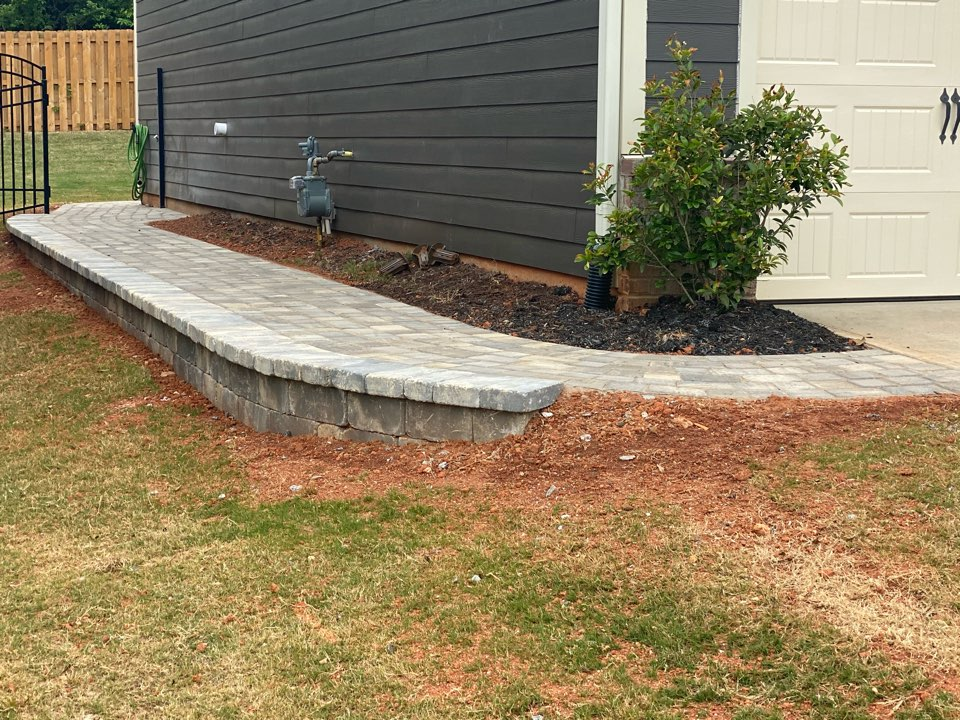 Simpsonville, SC - Installed paver patio, sidewalk and retaining wall near Simpsonville.
