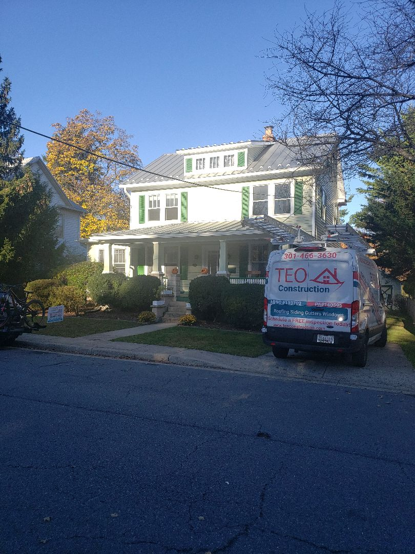 Gaithersburg, MD - Standing seam metal roof, Gutters ,soffit,  fascia and flat roof Replacement