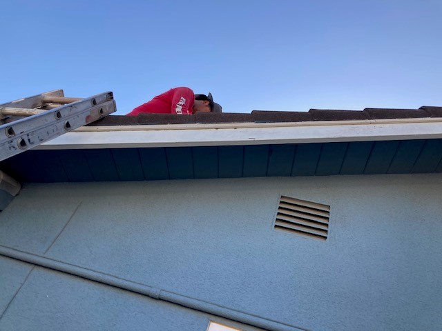 Livermore, CA - Installed new underlayment and reinstalled steel tiles.  Fixed dents on back side of house then sealed holes where varmints were getting in.  Replaced wood board where there was dryrot. The valley above the garage was cut short.  Element replaced the valley above the garage with the correct size and new piece of eave riser.