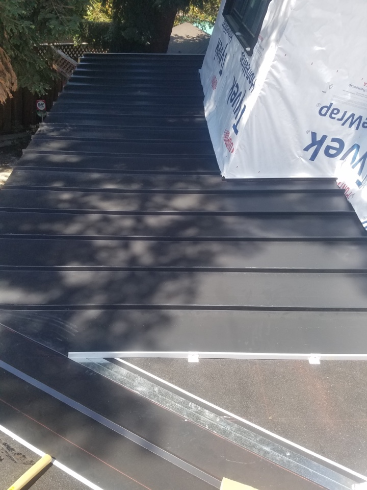 Danville, CA - New roof installation. Standing seam and composition roof.