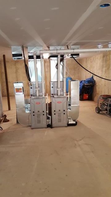 Newtown Square, PA - Dual 90%+ furnace installation for New Construction project.