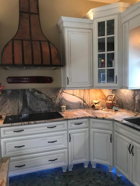 Virginia Beach, VA - Fire damage remodel project with beautiful Wellborn Cabinet in Premier Series and Savannah Divinity Java.