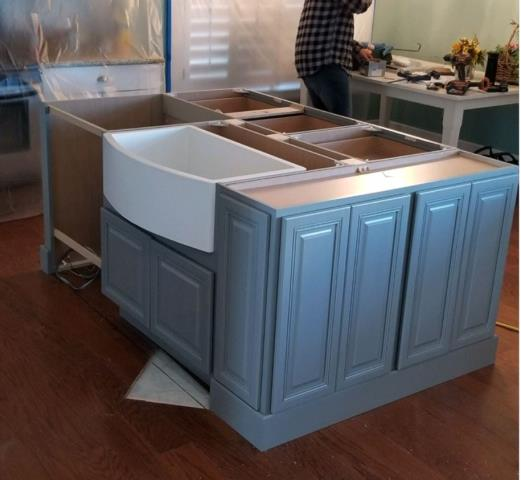 Virginia Beach, VA - A partial kitchen remodel/redesigned island cabinetry with farmhouse sink by Native Trails.