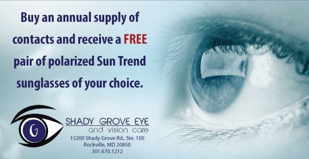 Potomac, MD - This deal is now even better! You can also get $150 off a complete pair of prescription glasses when purchasing a year supply of contacts. Call us today 301.670.1212