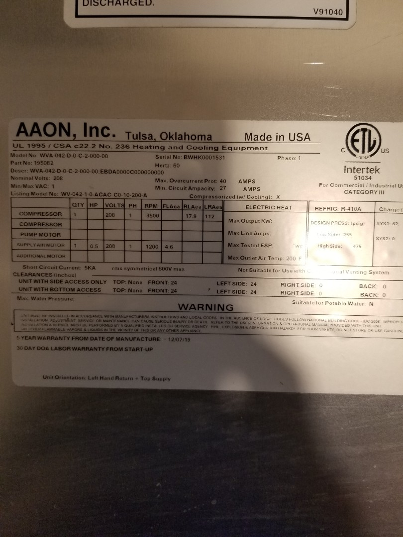 Dallas, TX - Found defective low pressure switch on Aaon unit.