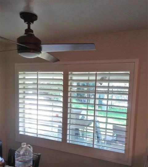 "Monterey Park, CA - Basswood shutter with 3 1/2"" louvers installed in Monterey Park."