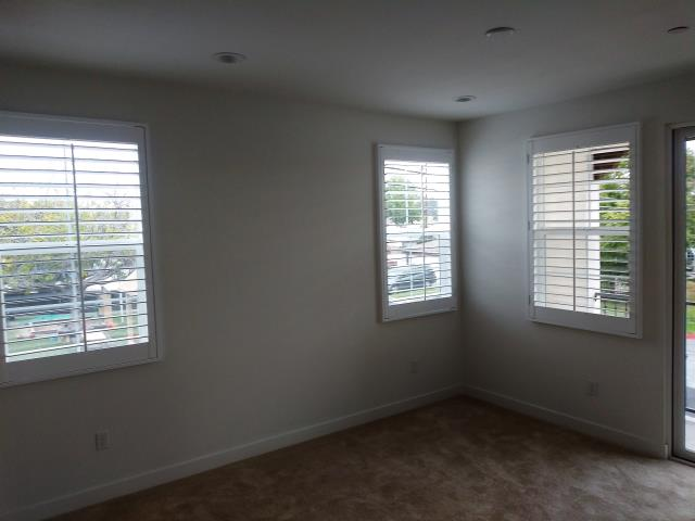 "Pico Rivera, CA - Basswood shutters in 3 1/2"" louvers, single panels 36"" wide."