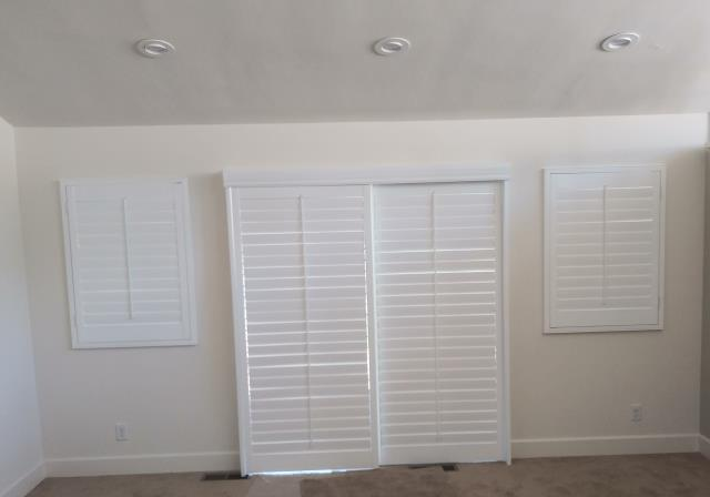 Lake Elsinore, CA - Shutters on a bypass track for slider in basswood.