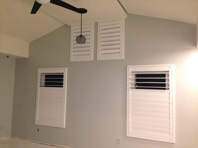"Oceanside, CA - Basswood shutters with clearview option in 4 1/2"" louvers just installed in San Clemente"
