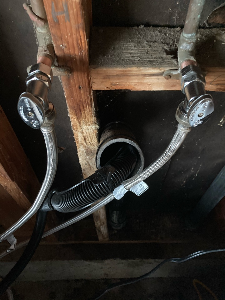 Plumber replaced leaking laundry bibs.