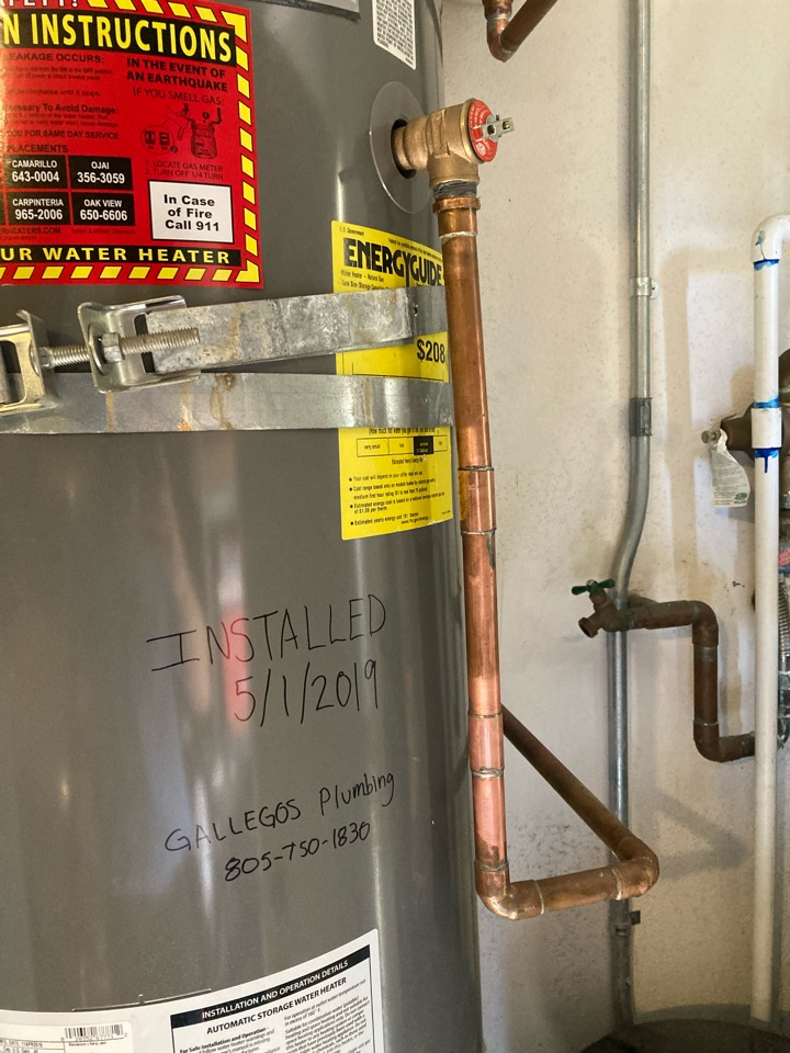 Ventura, CA - Plumber replaced failed temperature pressure relief valve on water heater.