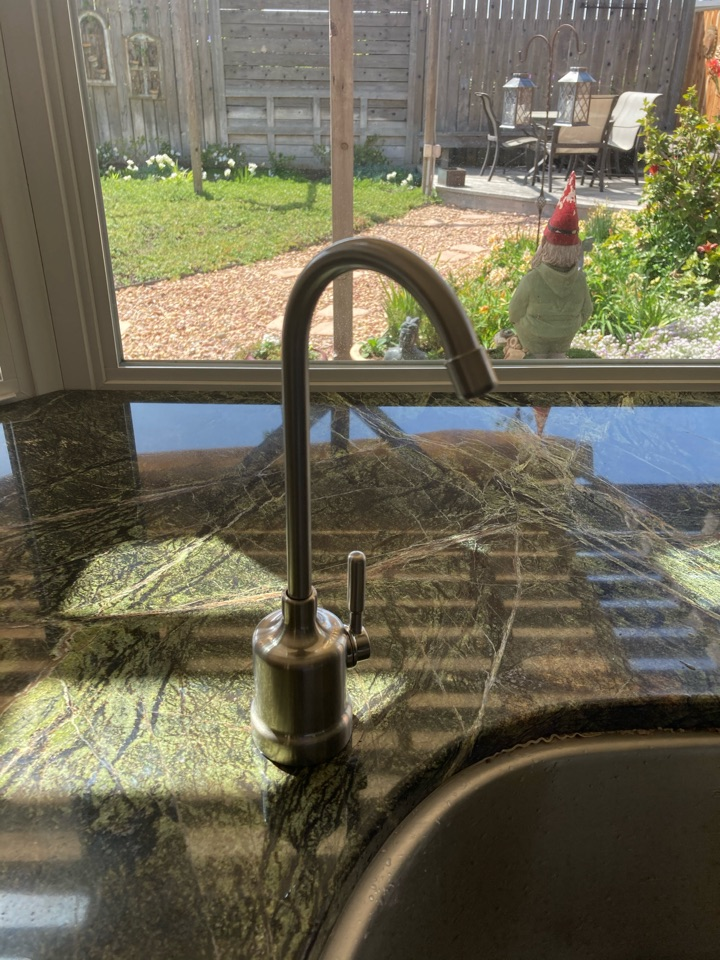 Ventura, CA - Plumber installed customer supplied brushed nickel R/O faucet.