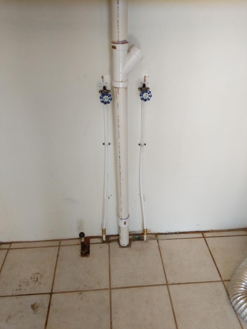 Kingman, KS - Installed new washer hook ups