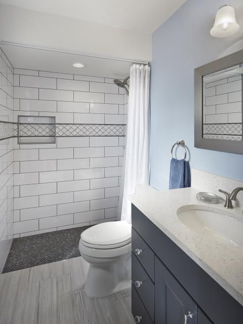 Tucson, AZ - Guest Bathroom Remodel. Whole House Remodel. Granite Countertops. Wellborn Cabinets. Curbless Shower. Niche.