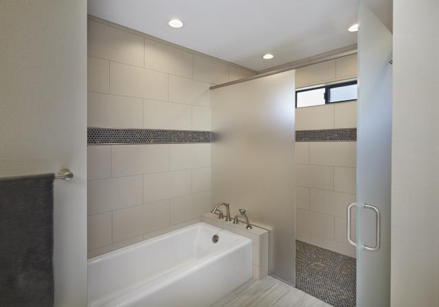 Tucson, AZ - Master Bathroom Remodel. Whole House Remodel. Master Suite Room Addition. Curbless Shower. Frosted Glass.